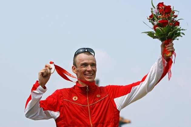 Silver medalist Simon Whitfield of Canada poses after the Mens Triathlon Final at the Triathlon Venue on Day 11 of the Beijing 2008 Olympic Games on August 19, 2008 in Beijing, China