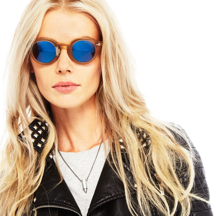 Ania is wearing Movitra 315 honey Cristal with flash blue sky lenses #sunglasses #movitra #movitraspectacles
