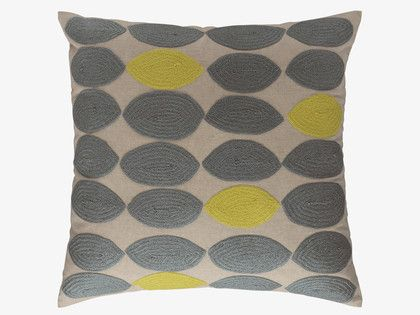 TRILLO Grey embroidered cushion 60 x 60cm