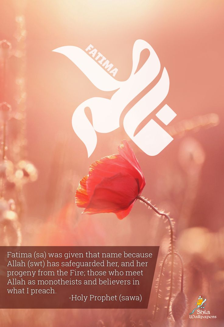 "Holy Prophet (sawa): ""Fatima was given that name because Allah has safeguarded her, and her progeny from the Fire; those who meet Allah as monotheists and believers in what I preach."" Ref: Beharul Anwaar, vol.10"