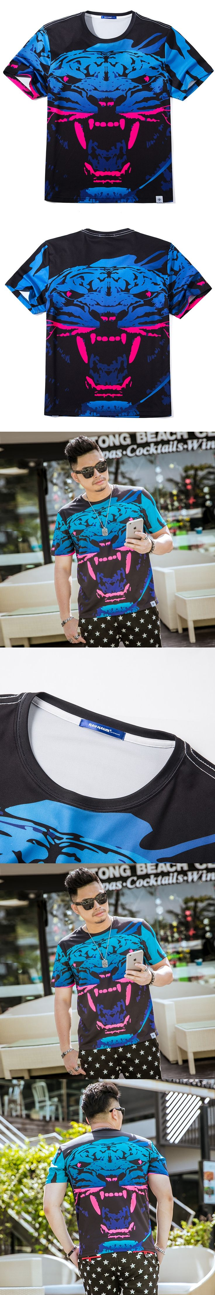 2017 Summer Hot sale New pattern Fashion Men's shirts Large size T-shirt Digital printed blouse Charm Nice East WX6188