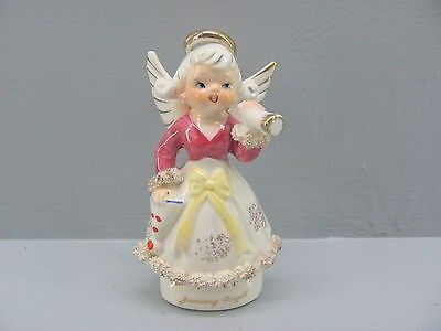 Vintage Japan Birthday JANUARY ANGEL w/ HORN & HAT and Spaghetti Trim 2H2464. | #539823552