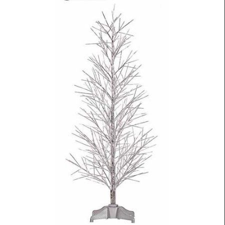 5' Pre-Lit Silver Fiber Optic Christmas Twig Tree - Multi