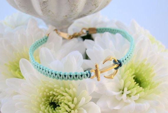 Matte Gold Anchor Hand Knotted Macrame Aqua Bracelet - Nautical for Summer!