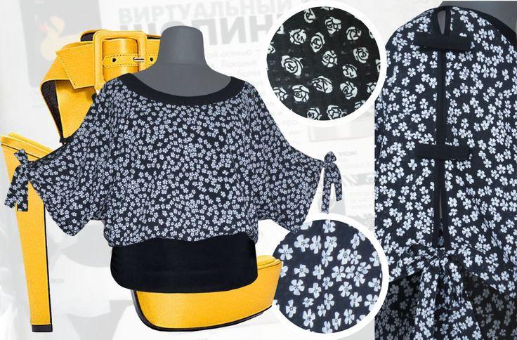 33$ Летняя блузка свободного покроя для полных женщин в мелкий цветочек из шифона-поплина Артикул 736, р50-64