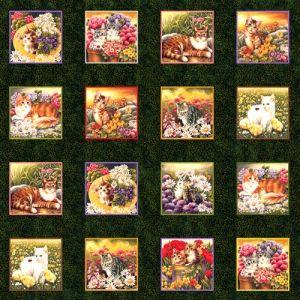 Tela con Motivos de gatos en cuadros de 10cm - Gloria Patchwork tela tigre -  #tienda de cenefas,  tela gallinas,  #tela tractor,  tela animales,  regalos -  costura  #telas -  #hilo,  tela de granjas -  patchwork  #tela con tigres,  tela de caballos