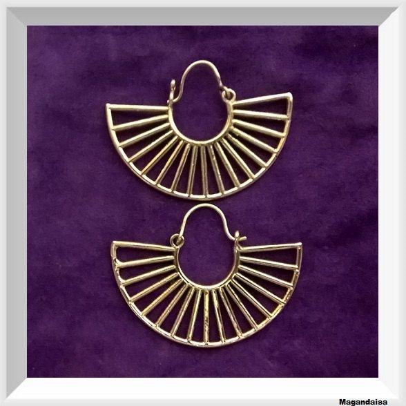 Egyptian,Tribal brass earring, large hoop earrings, Aztec brass,  gypsy, Indian yoga, Egypt Hoop Earring, ear weights, by Magandaisa on Etsy
