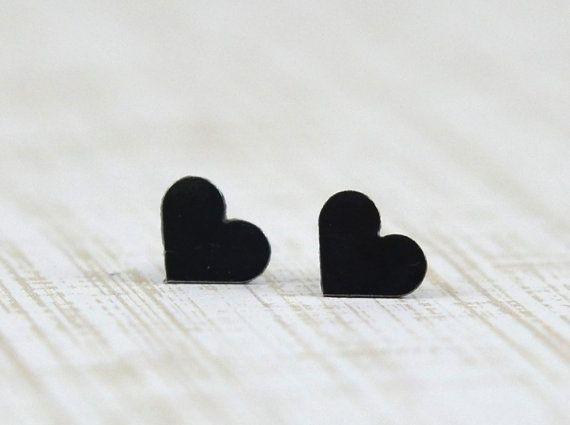 Sterling Silver Black Heart Stud Earrings - Handmade Hand Cut Petite Heart Earring Studs by Gioielli Designs - Gifts Under 20
