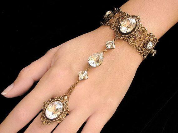 Gothic Ring Bracelet Swarovski Crystal Slave от LeBoudoirNoir