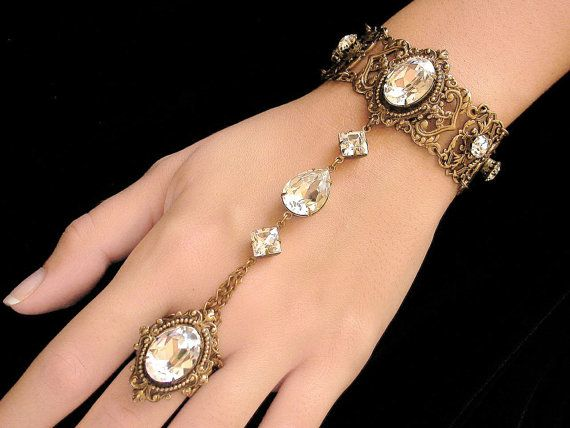 Silver Swarovski  Crystal Slave Bracelet with Ring