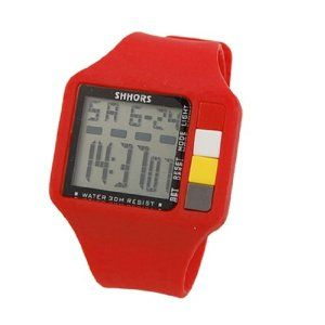 "Como Lady Red Plastic Band Rectangle Dial Sports Wrist Watch by Como. $7.41. Weight : 58g;Package Content : 1 x Ladies Sports Wrist Watch. Product Name : Sports Watch;Fit for : Ladies. Main Material : Plastic( Band), Stainless Steel (Back Case);Button : SET, RESET, MODE, LIGHT. LED Dispaly : Hour, Minute, Second, Month, Date, Day;Watch Case Size : 2"" x 1.5"" x 0.4""(L*W*H). Watchband Size : 8"" x 1""(L*W);Watchband Color : Red. Description:Sleek and unique style The Sports Watch is ..."