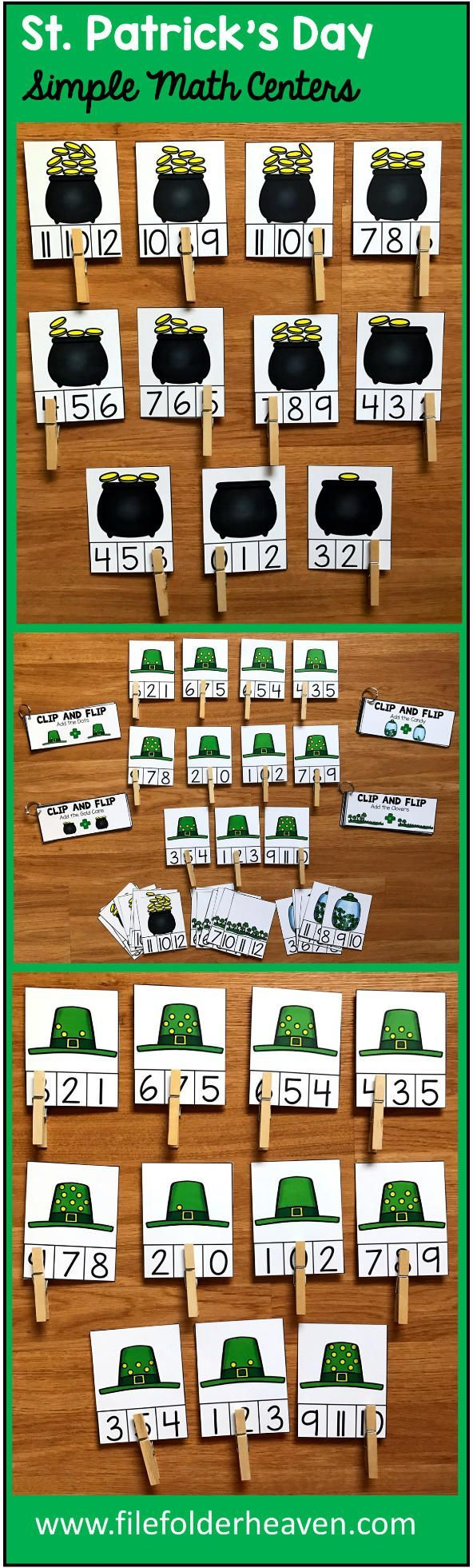 """These Simple Math Centers for St. Patrick's day include 4 St. Patrick's Day themed sets of """"Count and Clip"""" Task Cards, and 4 """"Clip and Flip"""" Books that focus on simple addition.  Clip and Flip Task Card Sets Included:  Count the Clovers (Numbers 0-10) Count the St. Patrick's Day Candy (Numbers 0-10) Count the Gold (Numbers 0-10) Count the Dots on the Leprechaun's Hat (Numbers 0-10)  Clip and Flip Books Included:  Add the Clovers Add the Gold Add the Dots  Add the St. Patrick's Day Candy"""