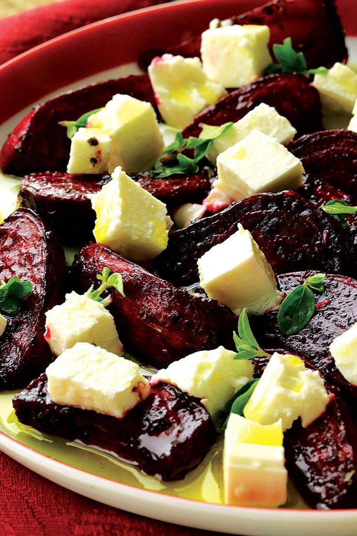 Goat Cheese with Beets, Arugula and Balsamic Dressing