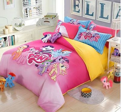 Charming New 2016 My Little Pony Bedding Set 4pc Queen King Size Cotton RARE