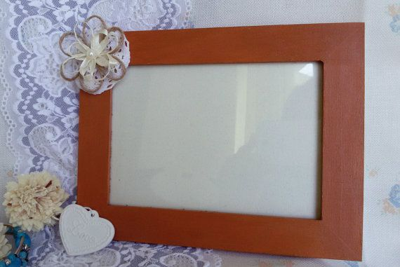 Unique wooden picture frame photo frame with flower by Rocreanique on Etsy