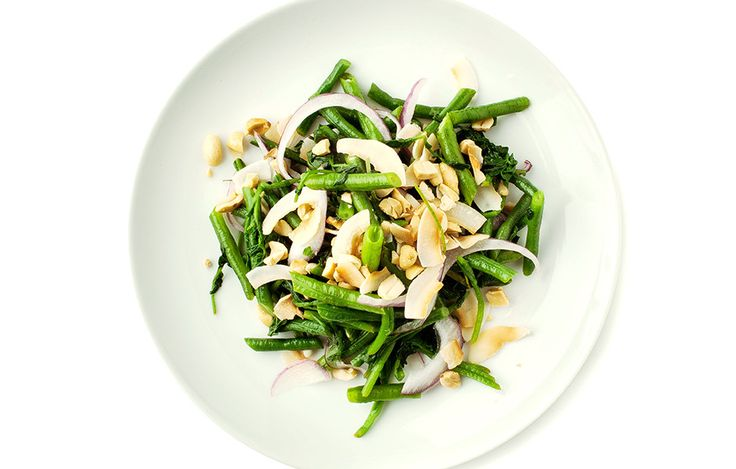 Long Bean Salad bon appetit - long beans, watercress, lime, coconut, red onion, peanuts