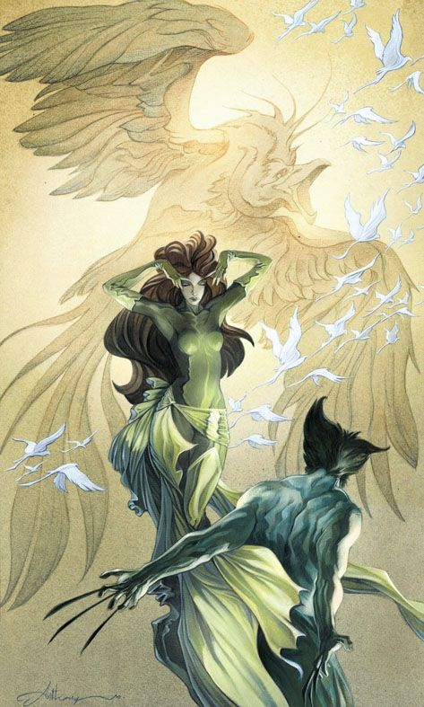✭ Wolverine and Phoenix by Anthony Jean    I love the long sash~