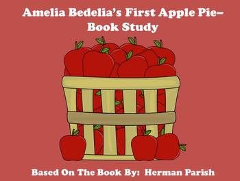 Amelia Bedelia's First Apple Pie Book Study includes:   **Review Quiz  **Keeping Up With Amelia Bedelia **Glossary Page **Vocabulary Review Quiz **Using a Recipe  **Apple Adjectives