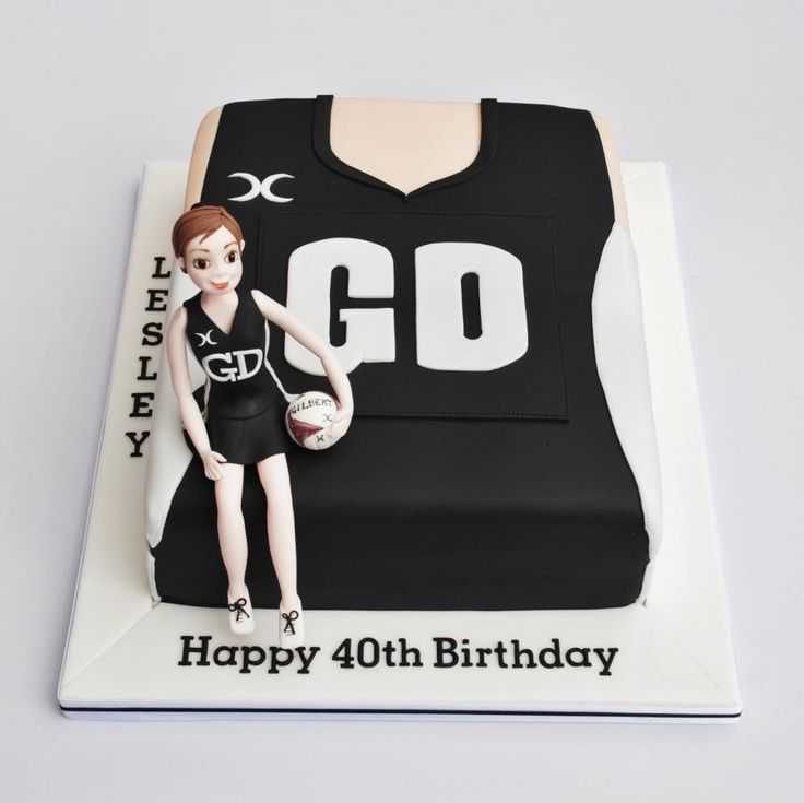 40th birthday cake for a netball lover, player, coach and umpire! Layers of vanilla sponge with jam and buttercream.