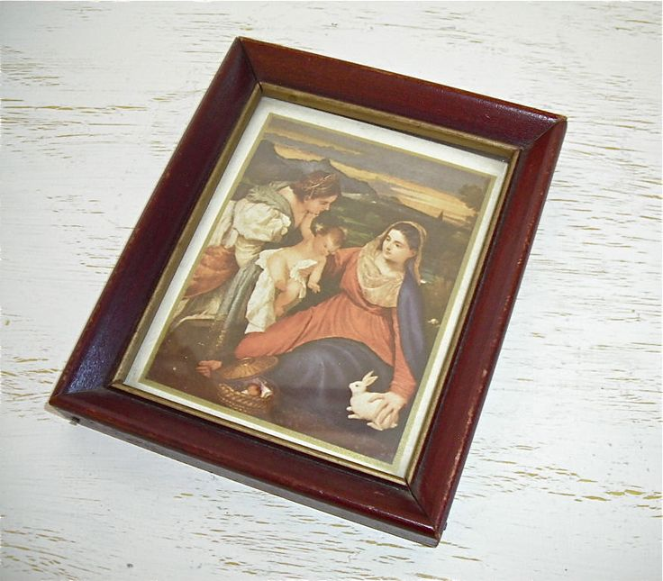 religious picture - deep rich colors - victorian baroque style - shabby chic cottage - christmas or easter decor by shesitsbytheseashore on Etsy