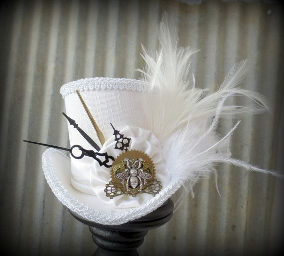 White Wedding Queen Bee Steampunk Mini Top Hat Alice In