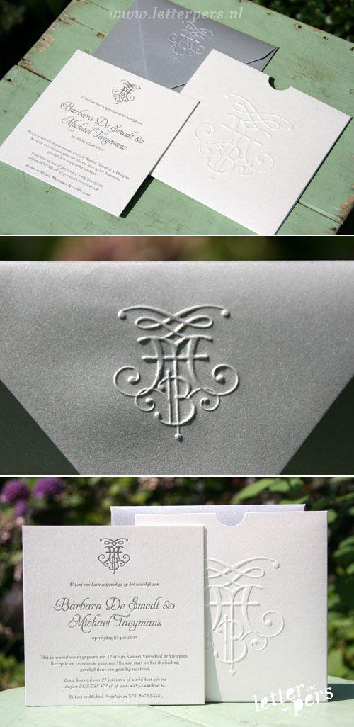 Prachtig setje voor Barbara en Michael met hun initialen in preeg op de flap van de envelop en op het mapje. De prijs is excl. mapjes en enveloppen.  Prijs op aanvraag.  De kaart kan ook geprint worden. Copyright Letterpers Voor meer informatie, mail ons!