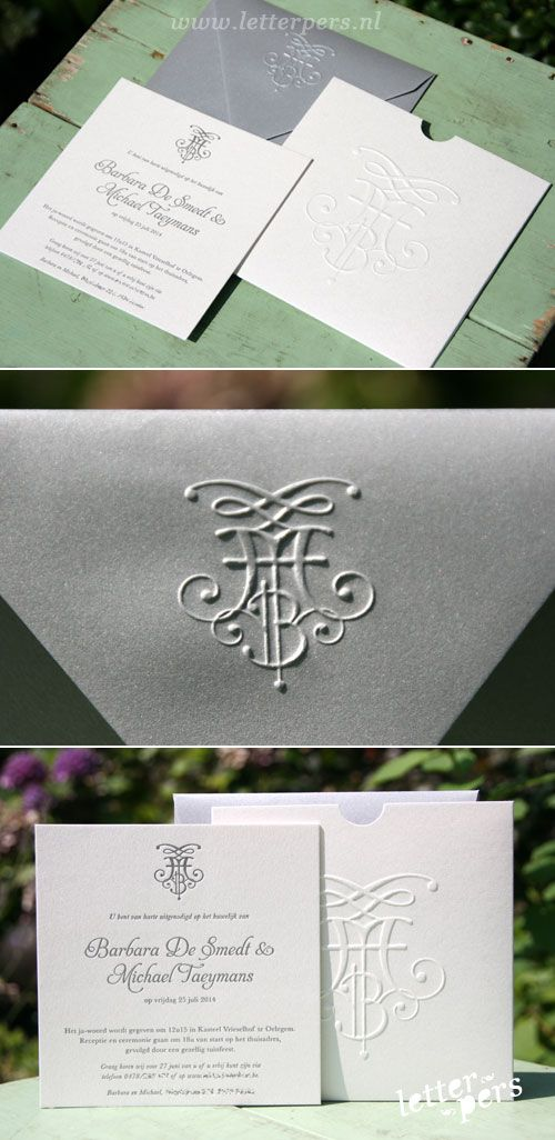 letterpers_letterpress_trouwkaart_hoesje_Micheal_Barbara_Belgie_envelop_preeg_relief_logo_zilver_glim_klassiek_modern