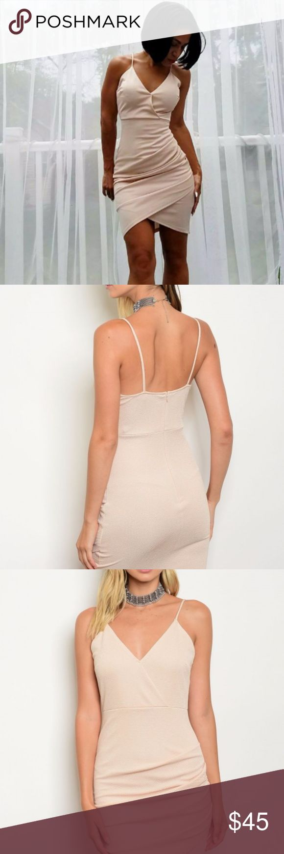 Nude Ruched Bodycon Dress We got your date night covered in this sexy figure flattering ruched bodycon dress in a timesless neutral shade. Gathered ruching flatters and accentuates curves.  - 95% Polyester | 5% Spandex - Made in the USA Dresses Mini
