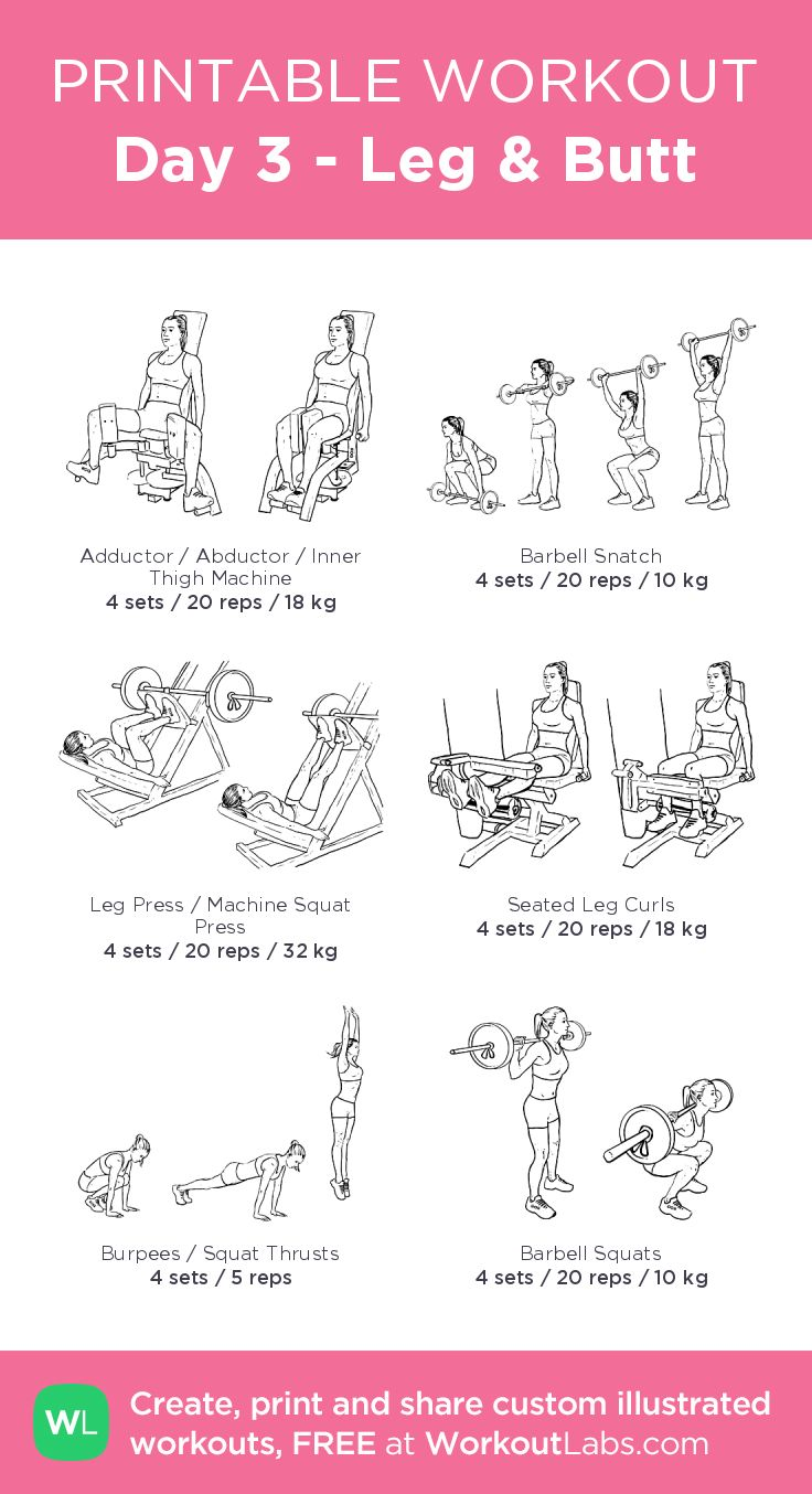 Day 3 – Leg & Butt –illustrated exercise plan created at WorkoutLabs.com … – Workouts