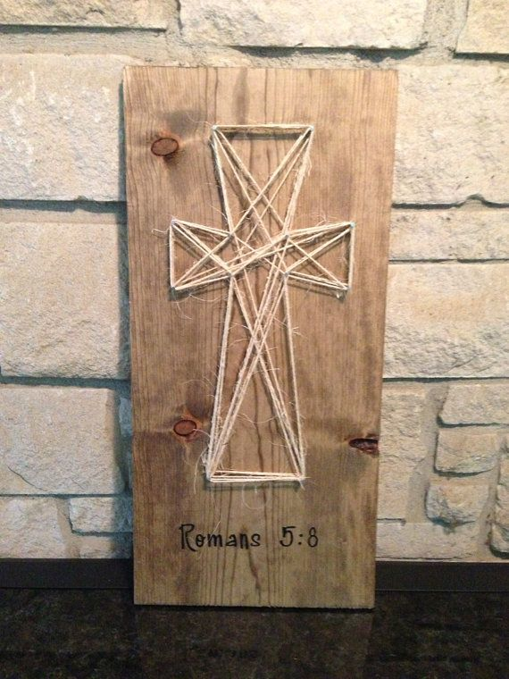 Wood, string and nail cross with verse on Etsy
