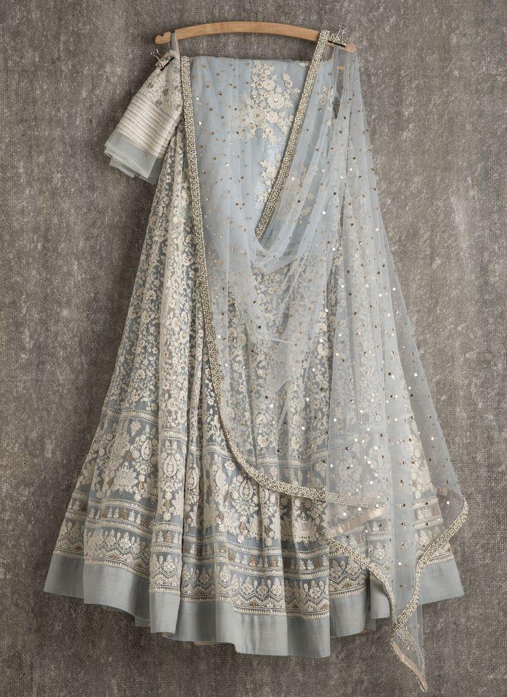 Lehengas by SwatiManish : Ice blue lehenga and dupatta with white thread work
