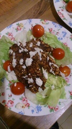 Cauliflower crumbed chicken with paleo ranch