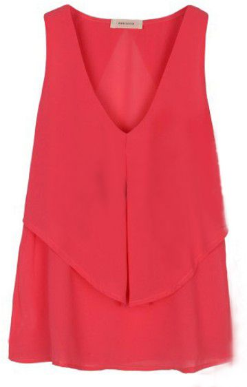 Pink Double-layer V-shape High-low Tank Chiffon Blouse With Ruffle