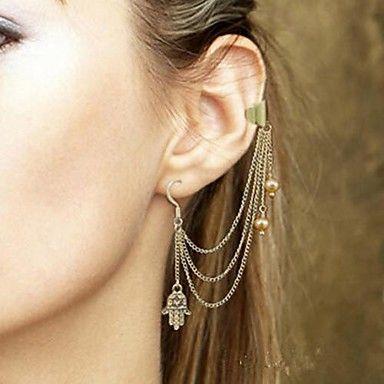 shixin® mode imitatie parel kwasten legering druppel oorbel oor manchet (zilver) (1 st) 2092689 2016 – €1.95