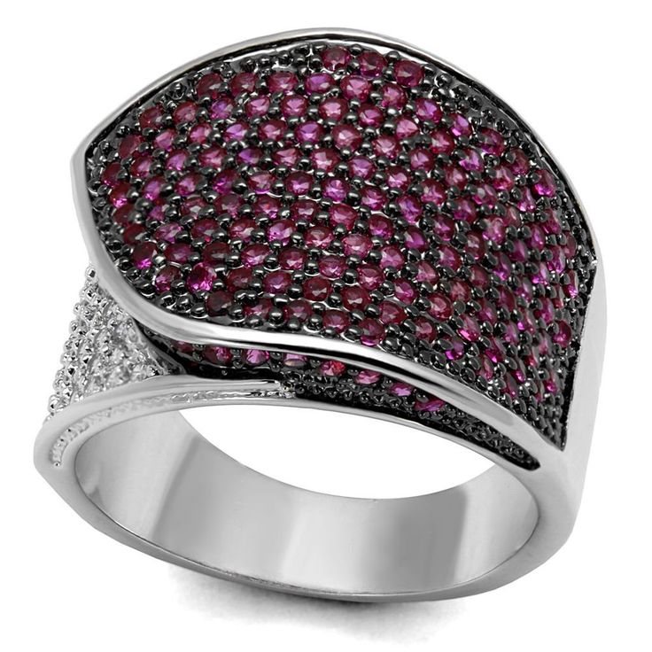 3W1217 Ring RHODIUM & Ruthenium SIMULATED DIAMONDS RUBY PAVE SPARKLING PRETTY #Unbranded #Band
