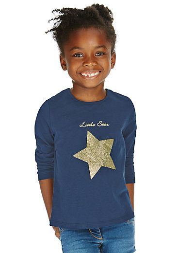 Pure Cotton Glitter Star T-Shirt (1-7 Years) | M&S - GBP 6 - 7