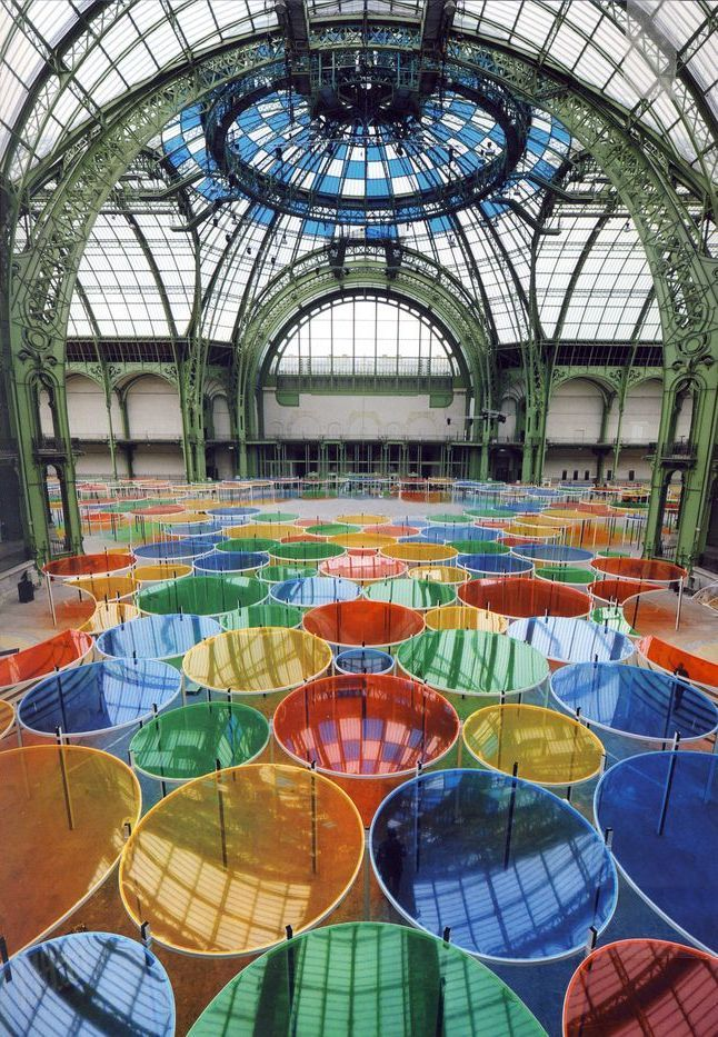 "Monumenta 2012 - Installation by Daniel Buren in ""Le Grand Palais"" - Paris.    Abstract minimalism"