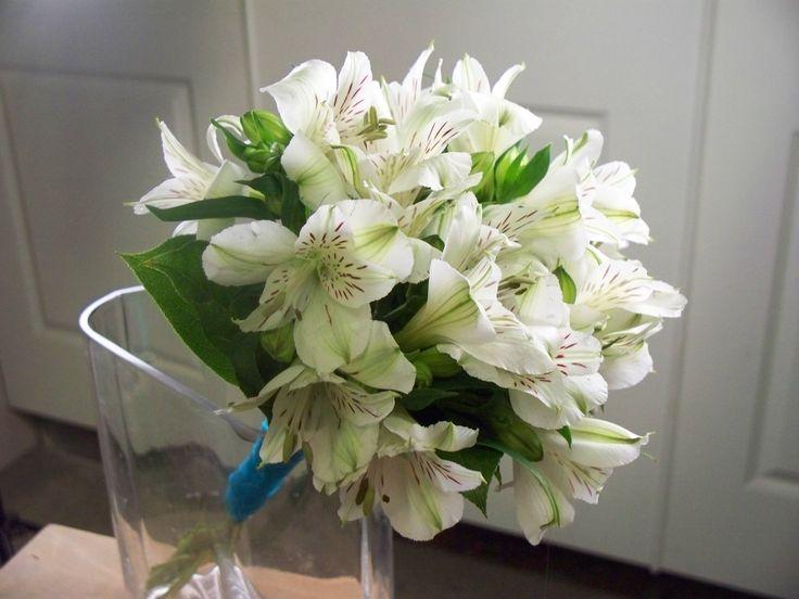 White Alstroemeria bridesmaid bouquet