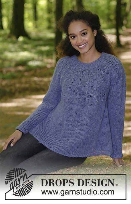 Bluse med rundt bærestykke, rib og A-facon, strikket ovenfra og ned. Størrelse S - XXXL. Arbejdet er strikket i DROPS Brushed Alpaca Silk.