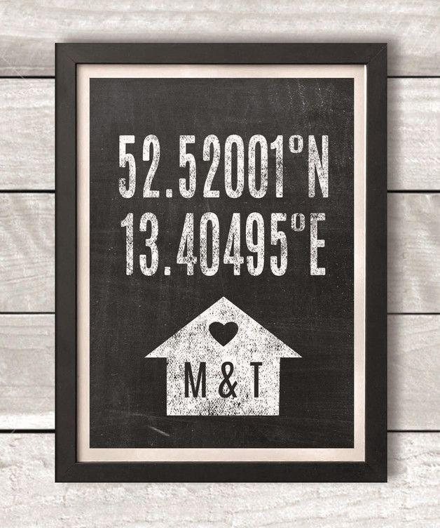 Personalisierbares Poster mit genauen Koordinaten, Euren Initialien und Herz / personalised print with coordinates of your home made by Drawing Birdy via DaWanda.com