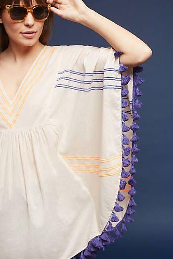 Striped & Tasseled Poncho