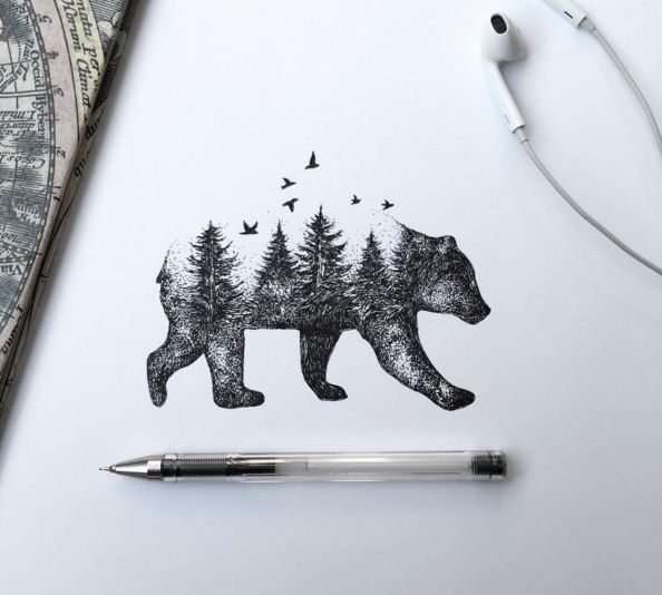 Beautiful Bear/Forest Tattoo Idea Artist- Alfred Basha I love this but with a beach scene