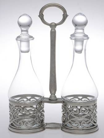 Your Favorite Brands Metal Giftware Cruet Set-2 Cry Bottles & Stand