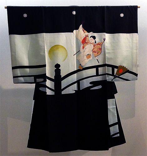 Kimono Boys - Yuzen Dyeing on black silk - L. 113 cm - Taisho Era