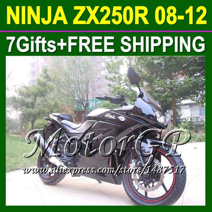 Купить товар7 подарки + ZX250R для Kawasaki ниндзя ZX250 блеск черный ниндзя 250r 16 # 68 2008 2009 2010 ZX 250 08 09 черный 10 11 12 зализа в категории Щитки и художественная формовкана AliExpress.