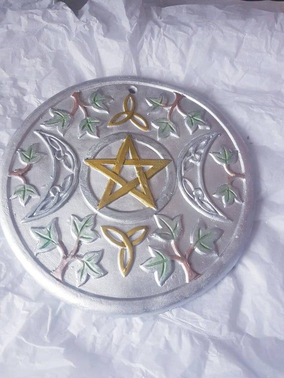 wiccan moon pagan hand cast triple painted plaque