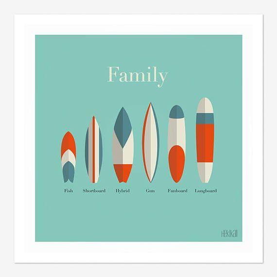 Affiche Family  planches de surf