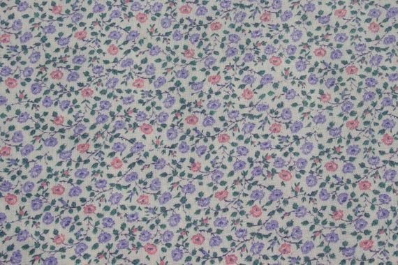 Small Tiny Rose Floral Print Cotton Fabric Lavender Purple Etsy Floral Prints Pink Rose Flower Printed Cotton
