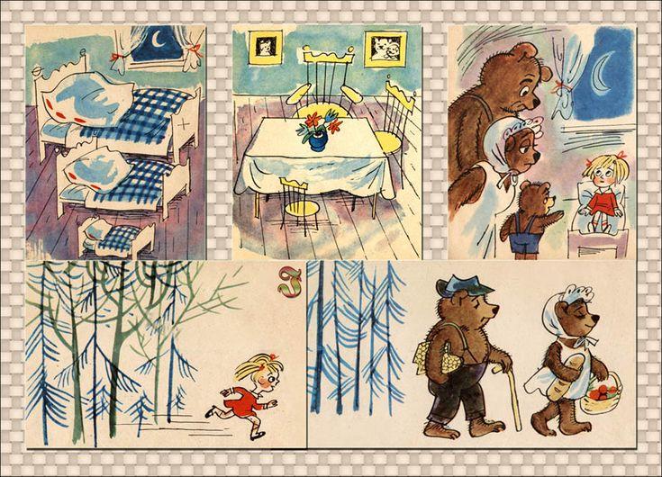 """""""Bajka o niedzwiedziach, niedźwiedziątku i o małym złotowłosym dziewczątku"""" F. Arnsztajnowa   il. Z. Lengren"""