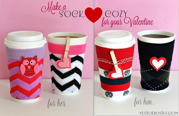 Make a coffee {SOCK} cozy for your Valentine via Nest of Posies